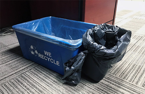 Deskside Recycling and Waste Bin